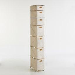 Nelia/ネリア ラタン調すき間ランドリーチェスト ハイ高さ180cm 幅25cm ホワイト