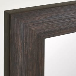 割れない軽量フィルムミラー 姿見 木目調フレーム 約51×161cm (ア)ダークブラウン 落ち着いた印象のウォルナット調木目を再現。