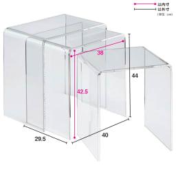 Gel/ジェル アクリルネストテーブル 3台セット 厚さ9mm・・・写真で見るより実物のほうが厚く感じられます