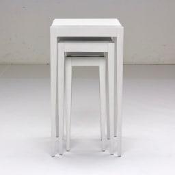 PHILOS/フィロス スリムレッグシリーズ ネストテーブル(大・中・小の3台セット) ホワイトウォッシュ 収納時はコンパクト。テーブル大のサイズに収まります。