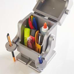 Pico/ピコ 収納ロボ[ete・えて ] シルバー 文具や小物の収納に。脚にも小引き出しが。