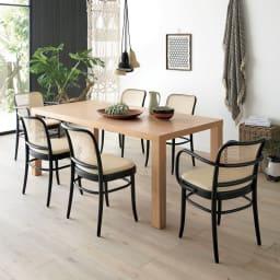 Multi マルチダイニングテーブル ウッドレッグタイプ 幅180cm コーディネート例 (イ)オーク(ナチュラル)