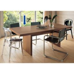Multi マルチダイニングテーブル パネルレッグタイプ 幅200cm コーディネート例:ウォルナット 重厚感があり高級感があるブラックウォルナット。