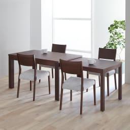 伸長式テーブル幅130~215cm チェア5点セット Vilske/ヴィルスク 伸長式ダイニングシリーズ 木部・ダークブラウン 最大伸長時(長さ215cm)