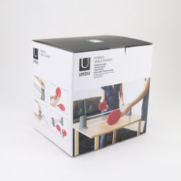 PONGO/ポンゴ ポータブル卓球セット・テーブルテニスセット [umbra・アンブラ] 写真のような化粧箱に入っています(デザインは予告なく変更になる場合があります)。