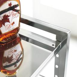 頑丈ステンレス伸縮天板ラック 2段 ワイド 棚板は4cmピッチで動かせます。