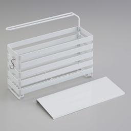 流れるトレー付き 洗剤スポンジラック(ふきん掛け付き) 便利なS字フック1個付き。