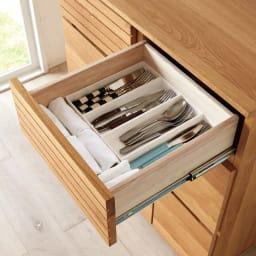 Large/ラルジュ 横格子ダストボックス 3分別(ペール3個付き) カトラリーの収納に便利な引き出し。