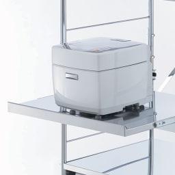 ステンレス大型レンジラック ハイタイプ オープン 家電の蒸気を逃がすスライドテーブル仕様。
