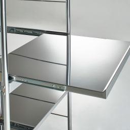 ステンレス大型レンジラック ハイタイプ オープン 引き出せるスライドテーブル仕様