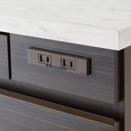 Formo/フォルモ 大理石調 ゴミ箱付きカウンター 2分別 2口コンセント付きで家電の使用にも便利。