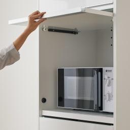 Ymir/ユミル 隠せる家電収納 幅40奥行45cm 扉はフラップ式で軽く開閉できます。開けたままをキープOK。
