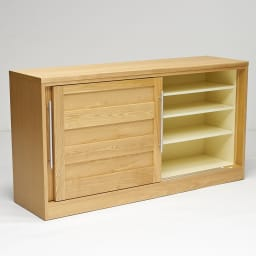 NexII ネックス2 天然木キッチン収納 カウンター 幅160cm 右側は棚収納で、本やDVDなどを入れても。