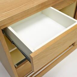 NexII ネックス2 天然木キッチン収納 カウンター 幅160cm 小さな小引き出しにもしっかりとしたレールを取り付けるこだわり。