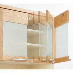 NexII ネックス2 天然木キッチン収納  レンジラック 幅70cm 〈ダンパー扉〉フラップ扉は、ゆっくりと静かに閉まるダンパー仕様。