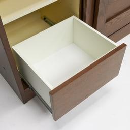 NexII ネックス2 天然木キッチン収納 キャビネット 幅100cm 引き出し内部にも清潔感のあるホワイトカラーで化粧を施し、収納物に配慮しました。