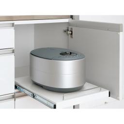AQUA/アクア ダイニングボード・キッチンボード 幅107cm 隠しスライドテーブル 炊飯器やポットの指定席に。使わないときは扉を閉めればすっきり隠せます。