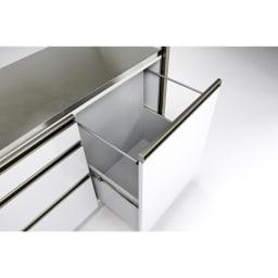 AQUA/アクア ダストダイニングボード・キッチンボード 幅127cm ダストボックス用の大きな引き出しも内部化粧仕上げ。汚してしまっても拭き掃除がしやすく安心です。