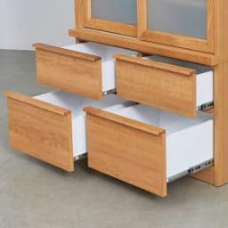Elno/エルノ スライドボード・引き戸食器棚 幅90cm 深さの違う引き出しで、収納物に合わせて整理整頓しやすく設計しました。