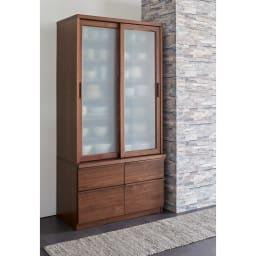 Elno/エルノ スライドボード・引き戸食器棚 幅90cm ウォルナット柄