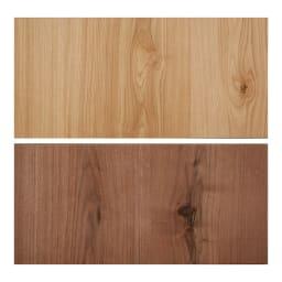 Bonno/ボノ キッチンボード・食器棚 幅120cm 上から(ア)ナチュラル、(イ)ブラウン 節ありオーク材 あえて節を残した味わい深いオーク材を使用。