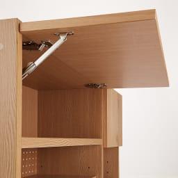 Bonno/ボノ キッチンボード・食器棚 幅120cm フラップ式扉 上部の扉も静かに閉まるダンパー付き。