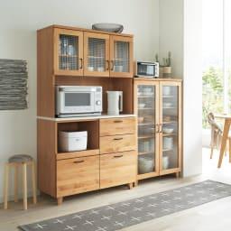 Pippi/ピッピ アルダー材コンパクトキッチン キッチンボード 幅100.5cm お部屋コーディネート例
