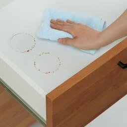Pippi/ピッピ アルダー材コンパクトキッチン キッチンボード 幅100.5cm 引き出し内部化粧 内部まで丁寧な化粧仕上げでお手入れも簡単。