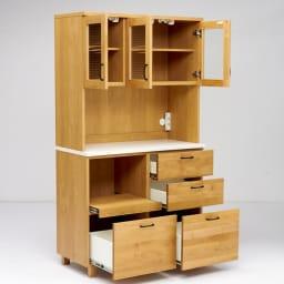 Pippi/ピッピ アルダー材コンパクトキッチン キッチンボード 幅100.5cm コンパクトながら、充実の収納ボリュームで雑多になりがちなキッチンをあっという間にすっきりおしゃれなキッチンに。
