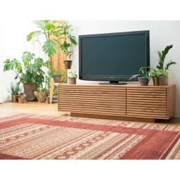 格子リビング収納 テレビボード 幅150.5cm [コーディネート例]オーク材