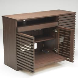 ウォルナット格子リビング収納シリーズ PCデスク 幅120cm プリンターをのせるスライドテーブルは最大30cmまで引き出すことができます。