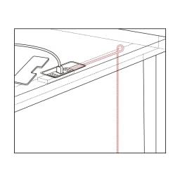 Brook(ブルック) ウッドデスクシリーズ デスク 幅150cm デスク背面からのイラスト コード類は、デスク天板奥のスペースに。