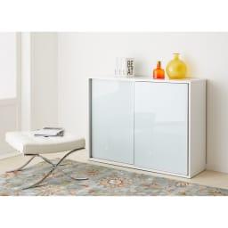 Evan(エヴァン) スライドシェルフ ロータイプ本棚 幅150cm [色見本]ホワイト ※写真は幅120cmタイプです。
