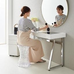 Panop/パノプ コレクション収納付きデスク 幅120cm 前に鏡を置いてドレッサーとして。