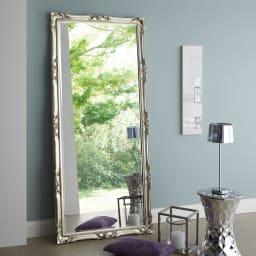 イタリア製スタンドミラー(鏡)大 幅83cm高さ181.5cm コーディネート例(イ)シルバー