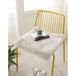 洗える短毛35mmAグレードムートン チェアパッド 約45cm×45・100・120・150cm(4サイズ) シルバーグレー ※写真は約45×45cmタイプです。