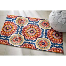 ハンドメイドチェーン刺繍ラグ (ア)ワゴンウィール マットサイズもございます