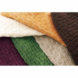スペイン製チェアカバー [ティナ] 座面カバー(同色2枚組) 【生地アップ】サラっとした肌触りのしっかりした織り生地。左上から時計回りにアイボリー、イエロー、ダークブラウン、ベージュ、グリーン、パープル