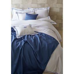 ホテル仕様スプレッド・フットスロー Plagea/プラージュア クッションカバー(1枚) 45×45cm用 (ア)クラシックブルー 同シリーズのスプレッドとコーディネートも