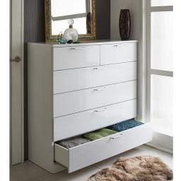 Muro/ムーロ ホワイトモダンチェスト 幅110cm 5段 空間を無駄なく活用して、どんどん増える衣類をすっきり収納。