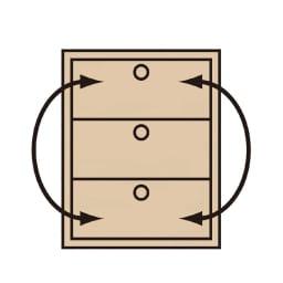 Tord/トルド 天然木薄型チェスト チェスト3段 引き出しは、季節や使い方に合わせて全段入れ替えが可能です。