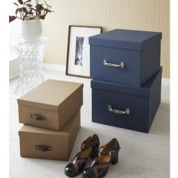 BIGSOBOX スウェーデン生まれの衣類収納ボックス TORE(2個組) 左からULRIKA(ア)ブラウン、TORE(ウ)ネイビーです。