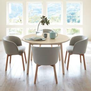 Ridge/リッジ ダイニングテーブル 天然木丸テーブル 直径110cm 写真