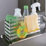 流れるトレー付き 洗剤スポンジラック(ふきん掛け付き)