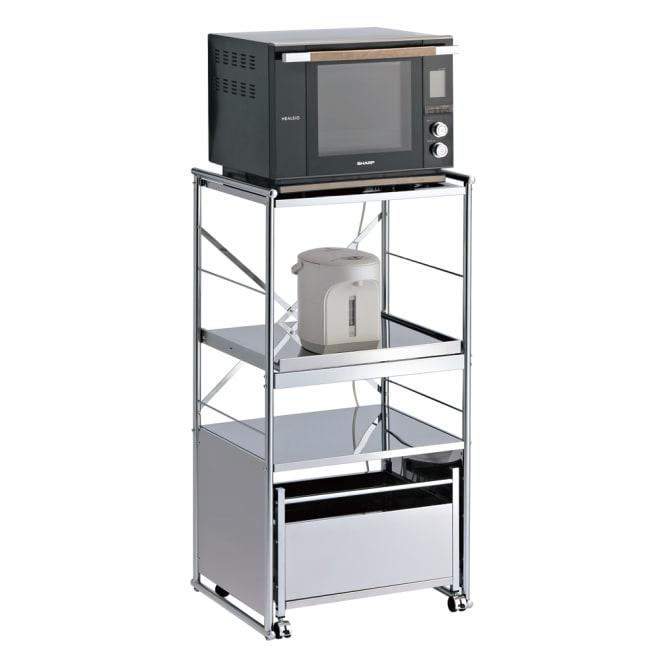 ステンレス製大型レンジ対応ラック ミドルタイプワゴン 大型レンジや炊飯器などまとめて収納出来るレンジラックです。 (外寸cm)幅61×奥行52×高さ116