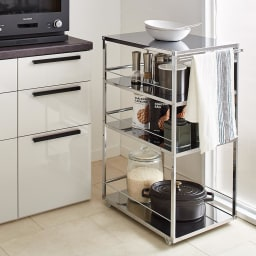 Prop/プロープ キッチン横 ステンレススリム作業台 幅30cm わずかなすき間にもたっぷり収納が可能。※幅30cmタイプ
