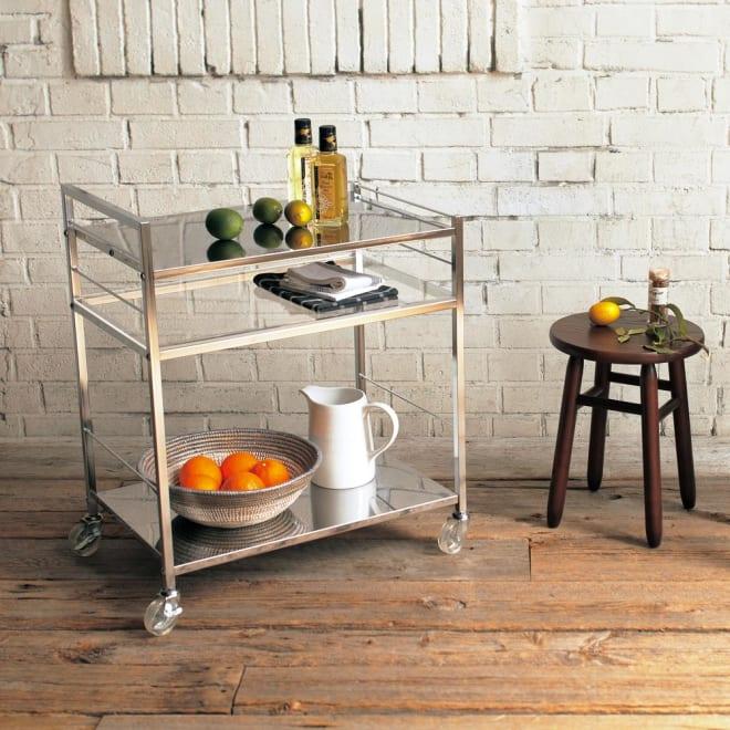 ステンレス製キッチンワゴン 幅33.5cm 使用イメージ