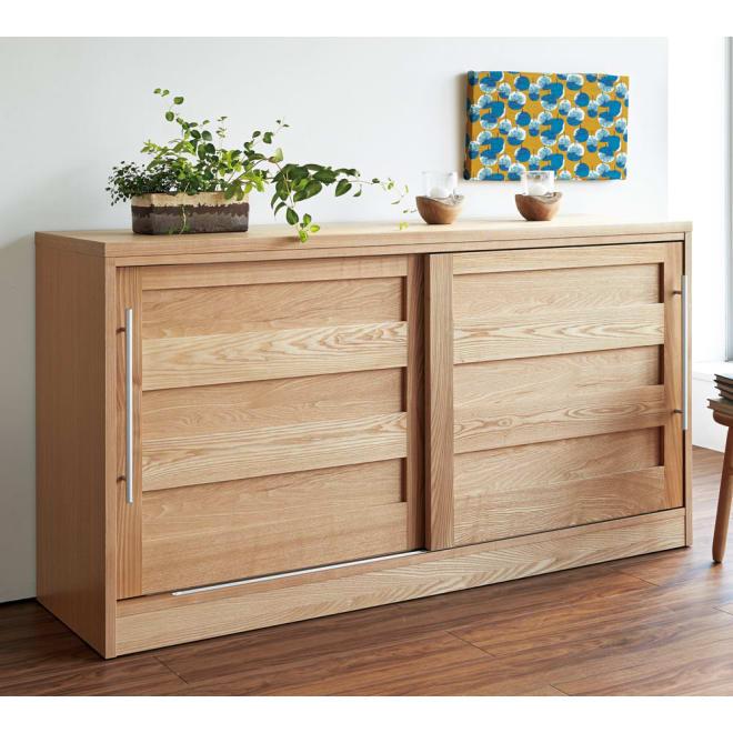 NexII ネックス2 天然木キッチン収納 カウンター 幅160cm ナチュラル モダンな格子柄とはっきりとした木目が、大人の上質なインテリアを演出します。