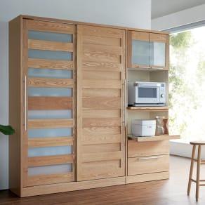 NexII ネックス2 天然木キッチン収納 キャビネット 幅120cm 写真