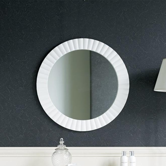 PHILOS/フィロス エレガントシリーズ 円形ウォールミラー・丸型壁掛けミラー 径60cm ホワイト